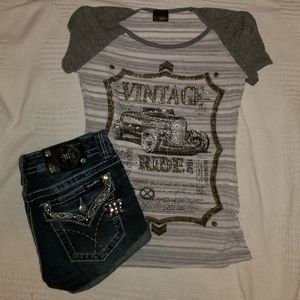 Miss Me Shorts & T-shirt Outfit